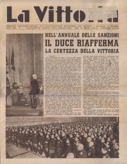 LA VITTORIA ORGANO UFFICIALE MENSILE DELL'ASSOCIAZIONE NAZIONALE FRA MUTILATI E INVALIDI DI GUERRA ANNO XXIII N.1 - NOVEMBRE 1940