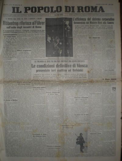 Il popolo di roma mercoledì 13 marzo 1940