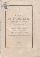 IN MORTE DEL COMPIANTO COMM. AVV. LEONARDO ROMANELLI SENATORE DEL REGNO MANCATO AI VIVENTI NEL 5 Dì OTTOBRE 1886 - PAROLE LETTE NEL CIMITERO SUBURBANO DAVANTI LA DI LUI SALMA DALL'AVV. MARCO BIONDI QUAL PRESIDENTE DEL CONSIGLIO ORDINE AVVOCATI AREZZO