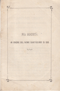 PIA SOCIETÀ IN ONORE DEL NOME SANTISSIMO DI DIO