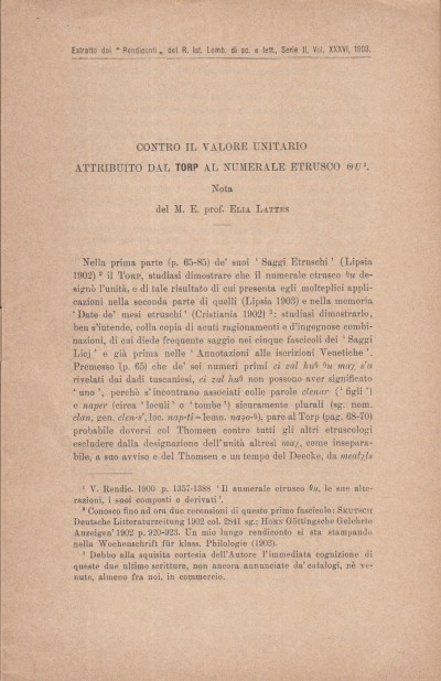 Contro il valore unitario attribuito dal torp al numerale etrusco ou - Lattes Elia M.e. (note Di)