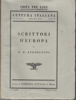 SCRITTORI D'EUROPA CRITICHE E POLEMICHE