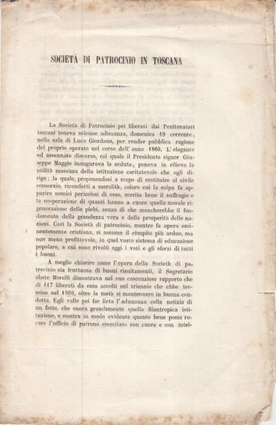 SocietÀ di patrocinio in toscana pei liberati dai penitenziari. estratto dal giornale la nazione anno iv n. 27 lunedÌ 27 gennaio 1862