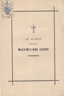 IN MORTE DEL PROF. CAV. AVV. MASSIMILIANO GIARRÈ