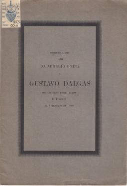 ESTREMO ADDIO DATO DA AURELIO GOTTI A GUSTAVO DALGAS NEL CIMITERO DEGLI ALLORI IN FIRENZE IL 7 GENNAIO DEL 1888