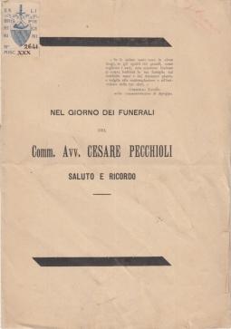 NEL GIORNO DEI FUNERALI DEL COMM. AVV. CESARE PECCHIOLI SALUTO E RICORDO