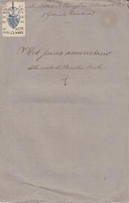 NEL PRIMO ANNIVERSARIO DELLA MORTE DI STANISLAO BECHI (17 DICEMBRE 1864)