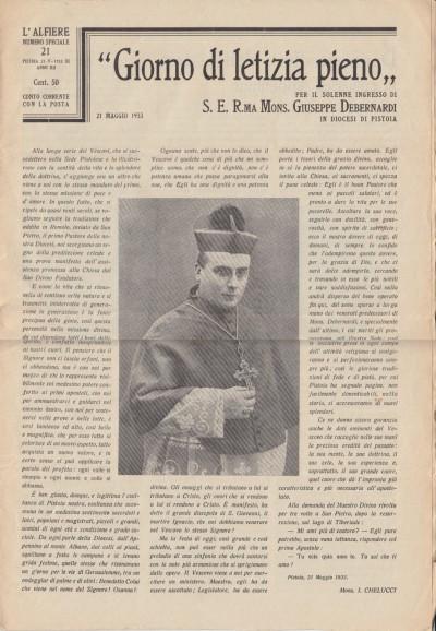 Giorno di letizia pieno per il solenne ingresso di s.e. r.ma mons. giuseppe debernardi in diocesi di pistoia. l'alfiere, numero speciale 21 pistoia 21-v-1933 xi anno xii