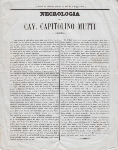 Necrologia del cav. capitolino mutti