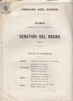 ELENCO NOMINATIVO ED ALFABETICO DEI SENATORI DEL REGNO 1863