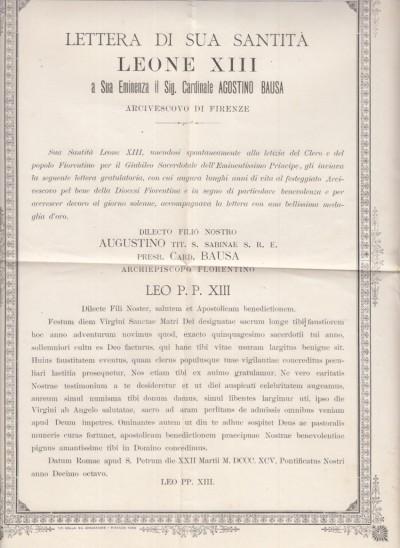 Lettera di sua santitÀ leone xiii a sua eminenza il sig. cardinale agostino bausa arcivescovo di firenze