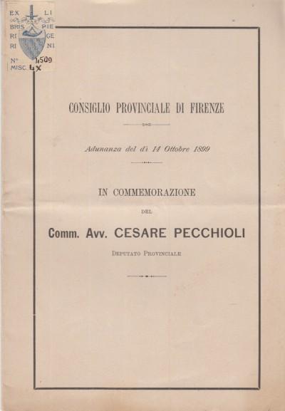 In commemorazione del comm. cesare pecchioli deputato provinciale. adunanza del dì 14 ottobre 1899 - Consiglio Provinciale Di Firenze