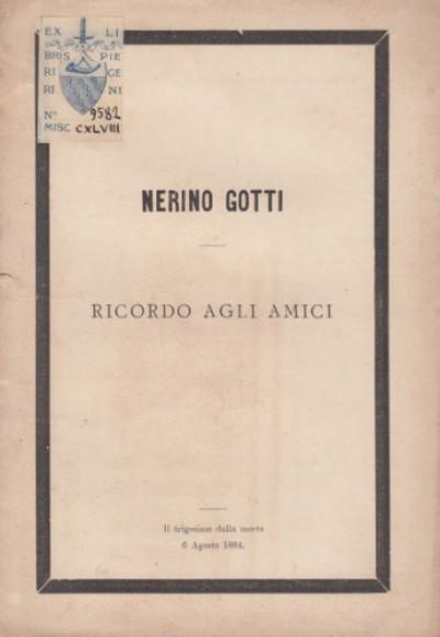 Nerino gotti ricordo agli amici il trigesimo dalla morte 6 agosto 1884