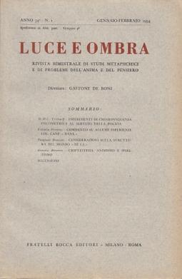LUCE E OMBRA RIVISTA BIMESTRALE DI STUDI METAPSICHICI E DI PROBLEMI DELL'ANIMA E DEL PENSIERO ANNO 54 N 1 GENNAIO-FEBBRAIO 1954