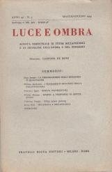 LUCE E OMBRA RIVISTA BIMESTRALE DI STUDI METAPSICHICI E DI PROBLEMI DELL'ANIMA E DEL PENSIERO ANNO 54 N 3 MAGGIO GIUGNO 1954