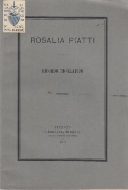 ROSALIA PIATTI RICORDO BIOGRAFICO