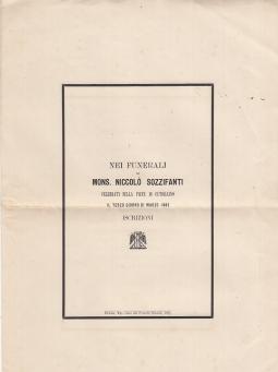 NEI FUNERALI DI MONS. NICCOLÓ SOZZIFANTI CELEBRATI NELLA PIEVE DI CUTIGLIANO IL TERZO GIORNO DI MARZO 1883. ISCRIZIONI