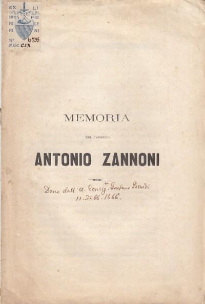 Memoria del canonico antonio zannoni