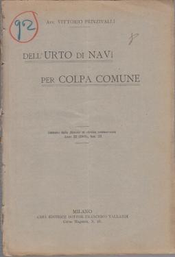 DELL'URTO DI NAVI PER COLPA COMUNE