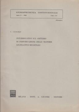 INTERROGATIVI SUL CRITERIO DI INDIVIDUAZIONE DELLE MATERIE LEGISLATIVE REGIONALI