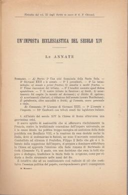 UN'IMPOSTA ECCLESIASTICA DEL SECOLO XIV, LE ANNATE