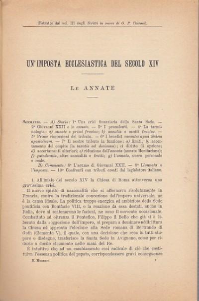 Un'imposta ecclesiastica del secolo xiv, le annate - Moresco M.