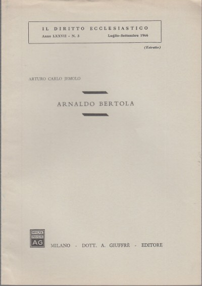 Arnaldo bertola - Jemolo Carlo Arturo