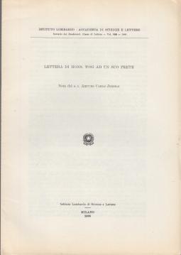 LETTERA DI MONS. TOSI AD UN SUO PRETE NOTA DEL S.C. ARTURO CARLO JEMOLO