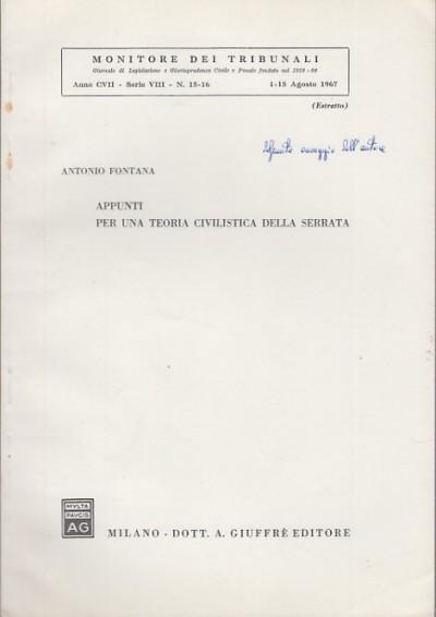 Appunti per una teoria civilistica della serrata - Fontana Antonio
