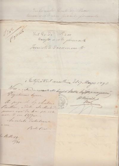 Documenti giuridici aventi ad oggetto la causa fra maglioli di pontedera e antonio fu francesco pierattini domiciliato e residente alla rotta di pontedera