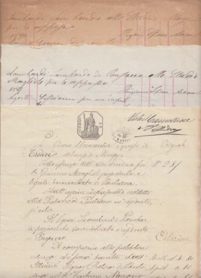 Citazione in giudizio manoscritta avente ad oggetto una causa tra andrea maglioli avvocato di pontedera e lombardo lombardi