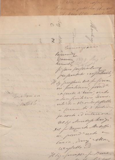 Documenti manoscritti della seconda metÀ dell'800 inerenti una questione legale fra giulianini di montecastello cntro di giuseppe fu domenico matteoli possidente domiciliato a montecastello.