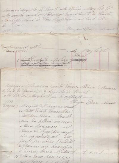 Docomunetazione manoscritta fine '800 avente ad oggetto una serie di conti specificati voce per voce inerenti roncucci angiolo di cevoli e roncucci bianca nata cancellieri
