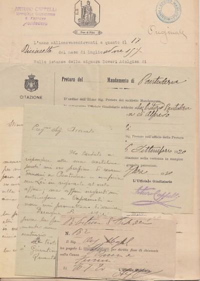 Documentazione manoscritta avente ad oggetto la richiesta di resitutizione di stoffe causa promossa da adalgisa doveri domiciliata a capannoli controla signora ferrini ione di capannoli ricamatrice