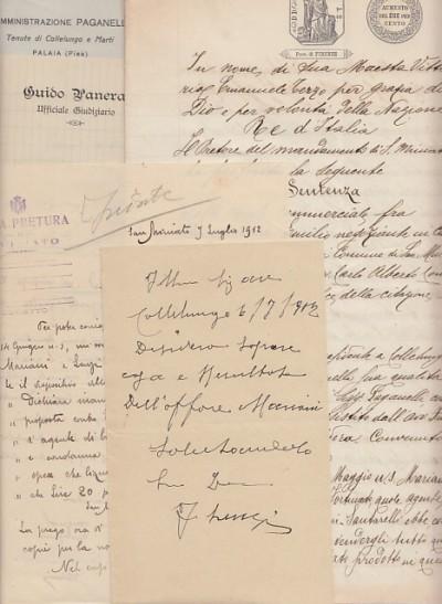 Documenti manoscritti aventi ad oggetto una causa commerciale tra mariani emilio negoziante di carbone domiciliato nel comune di san miniato e lenzi fortunato residente a collelungo in comune di san miniato