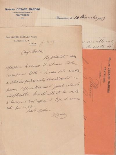 Due lettere una del notaio guido casella di lucca ed una del notaio cesare bardini di pontedera con busta