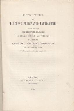 DI UNA MEMORIA DEL MARCHESE FERDINANDO BARTOLOMMEI SULLA RIFORMA DELL'ORFANOTROFIO DEL BIGALLO E DELLE SCUOLE LEOPOLDINE RELAZIONE LETTA DAL CONS. MARCO TABARRINI ALLA R. ACCADEMIA DE' GEORGOFILI NELL'ADUNANZA SOLENNE DEL Dì 22 MAGGIO 1870