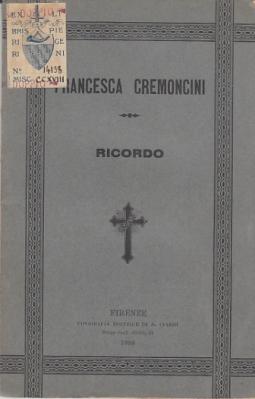 FRANCESCA CREMONCINI RICORDO SCRITTO DA ANTONIO COCCHI PRETE DELL'ORATORIO
