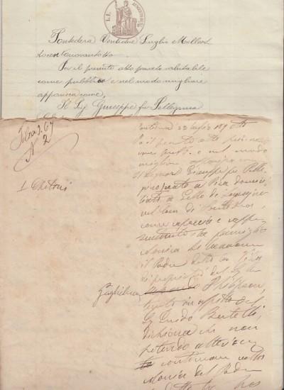 Documentazione in carta bollata relativa al rilascio del podere detto la villa, condotto dalla famiglia di giuseppe chetoni, situato a gello di lavaiano nel comune di pontedera e di proprietà di guglielmo philipson