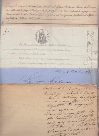 Documenti aventi ad oggetto una causa promossa da antonio ricci possidente e commerciante nato a pontedera e residente a livorno contro gli eredi del fu giuseppe simoneschi
