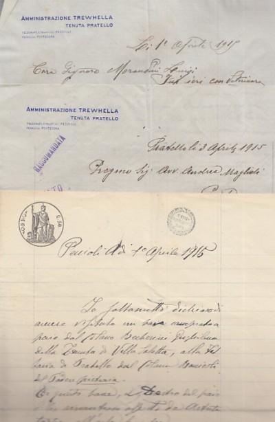 Due lettere su carta intestata amministrazione trewhella tenuta di pratello un documento manoscritto su carta intestata ed altro documento manoscritto a lapis