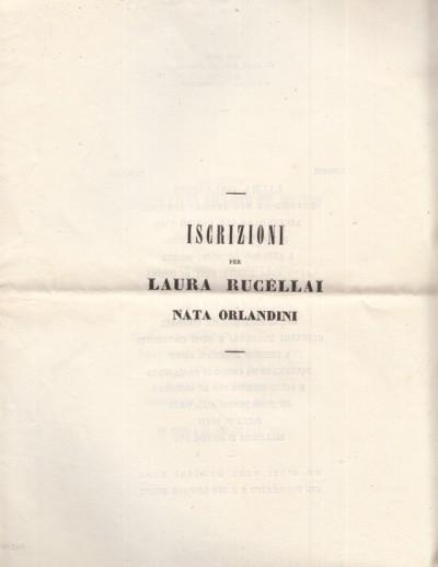 Iscrizioni per laura rucellai nata orlandini