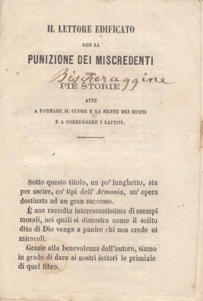 Il lettore edificato con la punizione dei miscredenti ossia pie storie atte a formare il cuore e la mente dei buoni e a correggere i cattivi