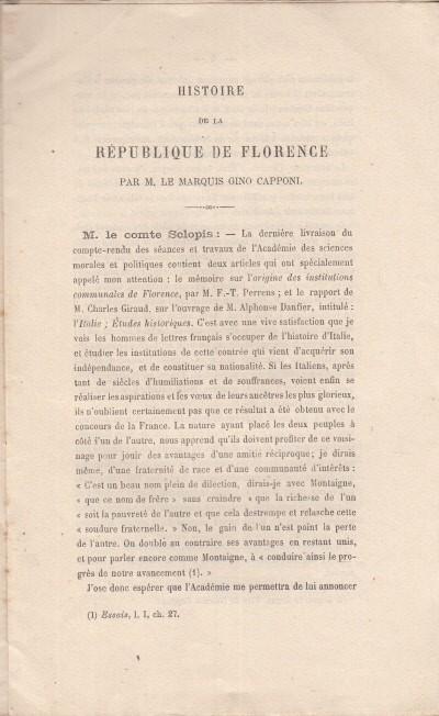 Histoire de la rÉpublique de florence par m. le marques gino capponi - Sclopis FrÉdÉric