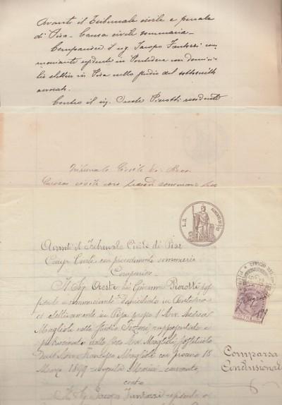 Documenti manoscritti aventi ad oggetto una causa che vede contrapposi oreste pierotti di pisa tito loumbard e jacopo fantozzi di calcinaia in relazione alla macellazione e vendita di una vitella probabilmente malata