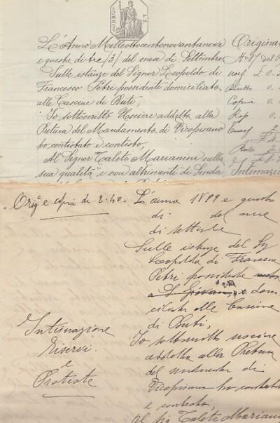 Documentazione manoscritta nella quale leopoldo petri domiciliato alle cascine di buti ricorre contro talete marianini nella qualitÀ di sindaco del comune di buti