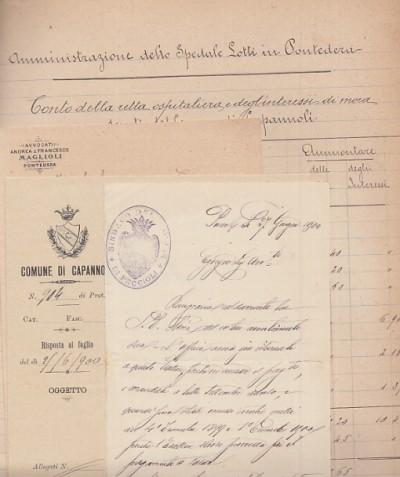 Documenti manoscritti costituiti da i conti della retta ospedaliera e degli interessi di mora dovuto dai comune di chianni, vecchiano, peccioli, capannoli all'ospedale lotti di pontedera