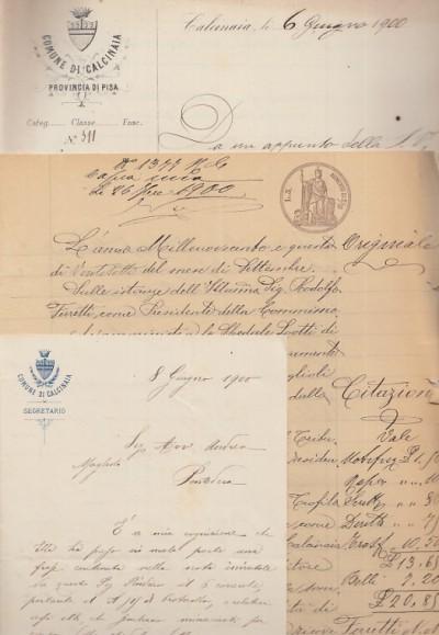 Documenti manoscritti aventi ad oggetto la riscossione di un credito da parte dell'ospedale lotti di pontedera verso il coume di calcinaia