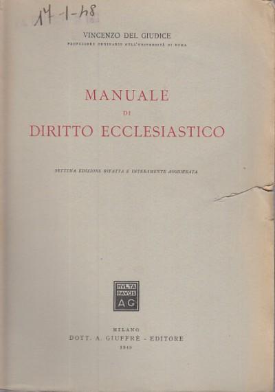 Manuale di diritto ecclesiastico - Del Giudice Vincenzo