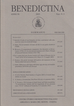 BENEDICTINA ANNO 50 2003 FASC. N.2